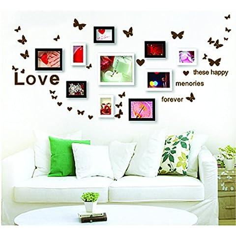 ufengke® Creativo Dancing Foto de la Mariposa Pegatinas de Pared, Sala de Estar Dormitorio Removible Etiquetas de la pared / Murales (Sin Marco de Fotos), Verde