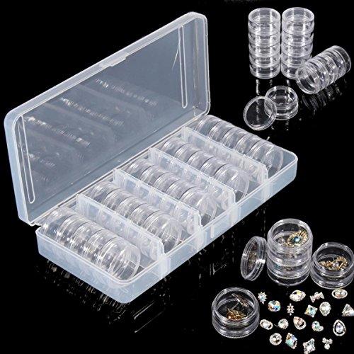EgBert 25Pcs Vide Boîte De Jar Nail Décoration Gemmes Strass Conteneur Minuscule Pièces Électroniques Organisateur Bouteille