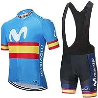Conjunto Ropa Ciclismo Hombre, Traje MTB Maillot Bicicleta Mangas Cortas+5D Gel Culotte Pantalones Cortos Verano Equipacion Ciclismo (XL, M-BUK)