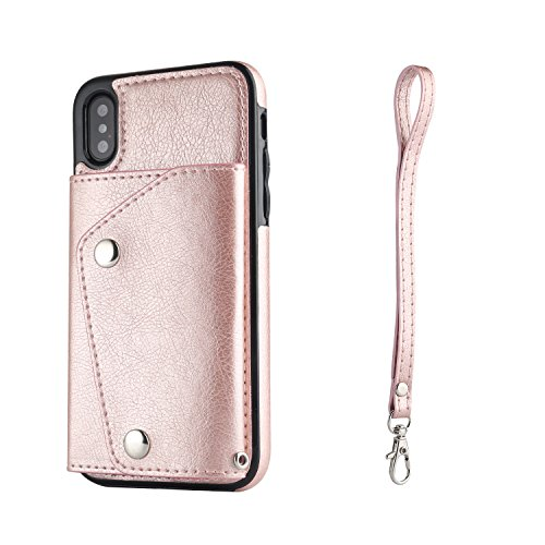 JiesenSJK Ledertasche für iPhone XsMax XR XS X 7plus 8plus mit Kreditkartenetui Halter Brieftasche Leder-Handyhülle für die Rückseite,Rosegold,iPhoneX - Für Niedlich 4 Iphone Frauen Fall