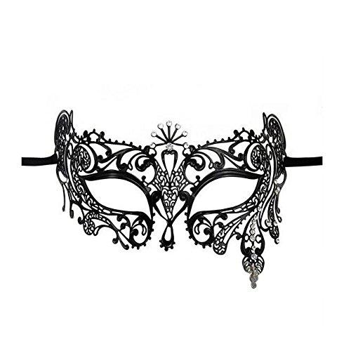 VABNEER Maske Metall Damen Spitze Sexy Maskenspiel Karneval Maskerade Schwarzer Spitze Faschingsmasken Maskerade Für Hallween Weihnachten Party