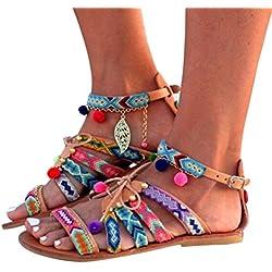 Sandalias Bohemia Mujer Gladiador Sandalias de cuero Zapatos bajos Sandalias Pom Pom Sandalias casuales Zapatos de playa Sandalias romanas Chanclas de damas LMMVP (43(CN), Multicolor)