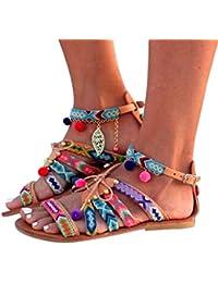 Sandalias Bohemia Mujer Gladiador Sandalias de cuero Zapatos bajos Sandalias Pom Pom Sandalias casuales Zapatos de playa Sandalias romanas Chanclas de damas LMMVP