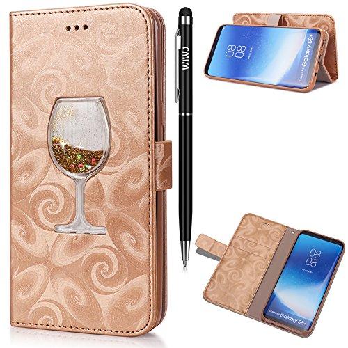 Galaxy S8 Hülle,Galaxy S8 Leather Handyhülle,WIWJ Handyhülle Wallet Case[Weingläser Treibsand...