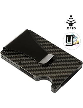 Vbiger Los hombres adelgazan la tarjeta de la fibra de carbono de la cartera de RFID del bloqueo del RFID