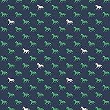 Unbekannt Riley Blake Pferd Jersey Stoff-Pferde Navy