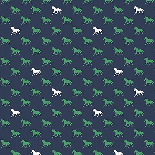 Unbekannt Riley Blake Pferd Jersey Stoff-Pferde Navy Blau-Jersey Knit-rbj016-0,5Meterware-150cm Breit -