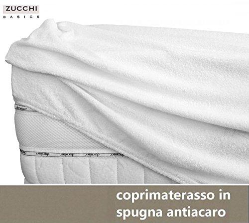 Coprimaterasso con angoli due piazze matrimoniale zucchi basics in spugna antiacaro bianco cm 175 x 200