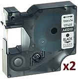 2 Schriftband Kassetten kompatibel für Dymo D1 45010 12mm x 7m schwarz auf transparent