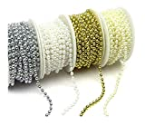 Set 4 Stück Perlenband Perlenkette Perlengirlande Perlenschnur Weihnachten Advent Hochzeit Deko Tischdeko Hochzeitskette (S-P6-4X-SWGI)
