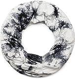 styleBREAKER Loop Schlauchschal mit Batik Muster, Vintage washed Look, Schal, Tuch, Unisex 01017041, Farbe:Weiß-Schwarz