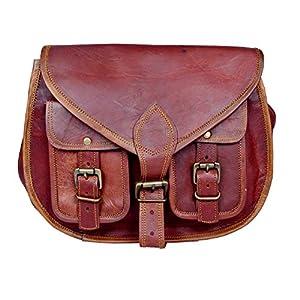Handgeschöpft Authentische Vintage Leder Umhängetasche für Frauen Doppelte Vordertaschen, 10x13, 100% echtes Leder mit Kostenlosem Versand, 2019 SALE- nur noch 2 TAGE