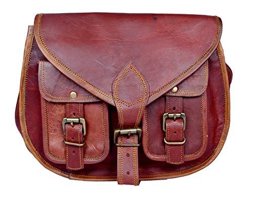 - Leder-tag (Handgeschöpft Authentische Vintage Leder Umhängetasche für Frauen Doppelte Vordertaschen, 10x13, 100% echtes Leder mit Kostenlosem Versand, 2019 SALE- nur noch 2 TAGE)