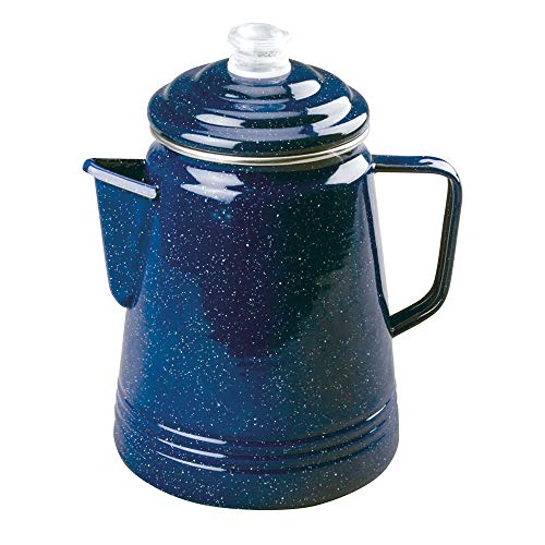 COLEMAN COMPANY Blue Enamelware Percolator - 14 Cup (Coleman Metall)