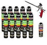 SET Pistolenschaum 10 Dosen 750 ml Montageschaum 1K Bauschaum PU-Schaum + 1 Reiniger + 1 Schaumpistole