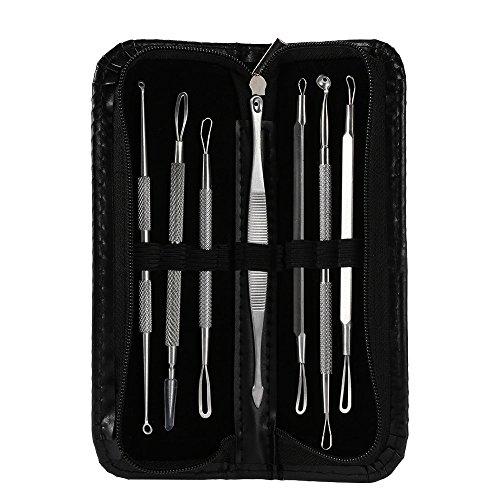 SkyRam (TM) 7Pcs / Lot Mitesser Akne Nadeln Hautpflege Stainless Pickel Komedonen Blemish Extractor-Entferner Gesichtsreinigung Werkzeuge + Tasche