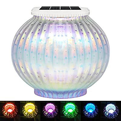 Mosaik Solar licht, LED Sternen Lampe Kind Nachtlicht, Mehrzweck Wasserdichter Globaler Glastopf, RGB Farbwechsel Stimmung Licht Party Deko Lampe für Garten, Patio, Tabelle, Zimmer, ideales Geschenk