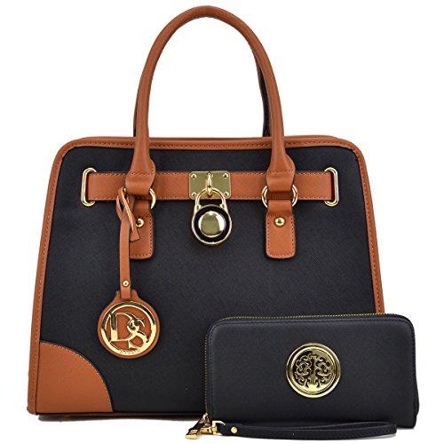 Damen Designer-Handtaschen und Geldbörsen Umhängetaschen mit passendem Geldbeutel, Schwarz - Schwarz - Größe: Medium -