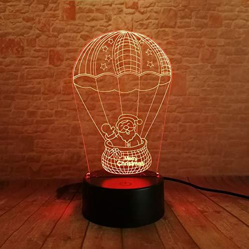 Weihnachtsmann In Der Heißluft-Ballon-Nacht 3D Führte Bunte Steigung Lampe Lampara Hauptdekoration Für Die Weihnachtsfest-Geschenke
