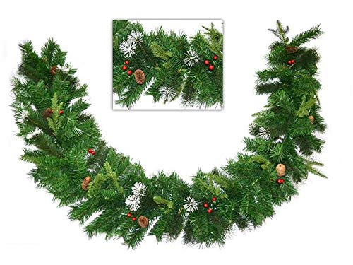 Vetrineinrete® festone natalizio con bacche e pigne 200 cm 30 cm largo ghirlanda natalizia artificiale di natale 180 rami pino abete decorazioni e addobbi natalizi x 27763