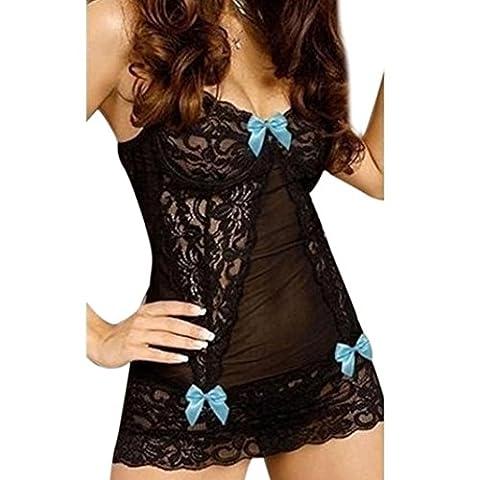 Ouneed Sexy Charm Lace Dress Lingerie Bodysuit for Women Sleepwear (Blue)