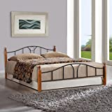 FurnitureKraft Toronto Metal Queen Size Double Bed with Wooden Leg,Multicolor