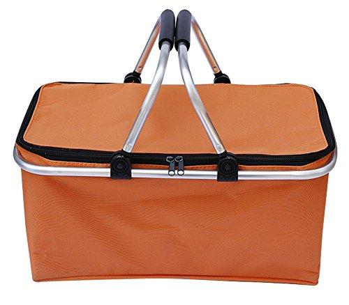 drasawee pliable à la main Panier de transport double poignée sac à shopping réutilisable, Orange, 46*28*24cm
