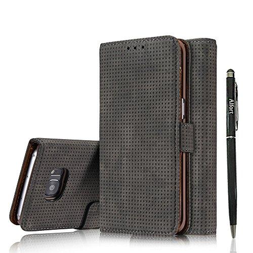 Preisvergleich Produktbild Galaxy S7 Edge Hülle ( Nein für S7 ), Galaxy S7 Edge Schutzhülle Leder Hülle, Alfort 2 in 1 Retro Ledertasche Premium PU Tasche Case Cover Flip Funktion Standfunktion Unterstützte Telefone mit einem Magnetverschluss ( Schwarz ) + Schwarz Stylus Pen
