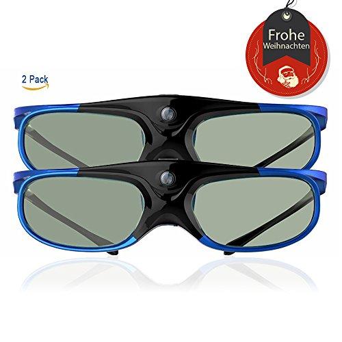 Elephas DLP Link 3D-Brille Wiederaufladbare für DLP-Projektoren Optoma, BenQ, Acer, Viewsonic , DELL, Schwarz / Blau (2017 Comfortable Version Doppelpack)
