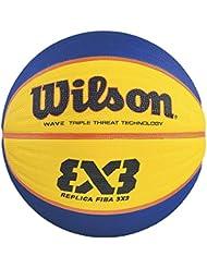 Wilson Ballon Basketball Intérieur, Compétition 3vs3, Homologué FIBA, Parquets Sportifs, Sols Granulaires, en PVC ou en Linoléum, Taille 6, De 8 à 12 ans, FIBA 3X3 REPLICA GAME BALL, Orange, WTB1033XB