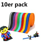 Bausteinbank, TKSTAR Block Tape 10 Rolls (3.2ft / Roll) Multicolor Silikon Sichere Bänder mit Wiederverwendbaren Selbstklebenden Streifen als Ziegel Grundplatten für Spielzeug Baustein  kompatibel mit Lego Block Spielzeug und Major Brands