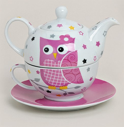 Tea for one Set 3-teilig Porzellan Teekanne mit Tasse und Untertasse in Geschenkbox (Rosa)