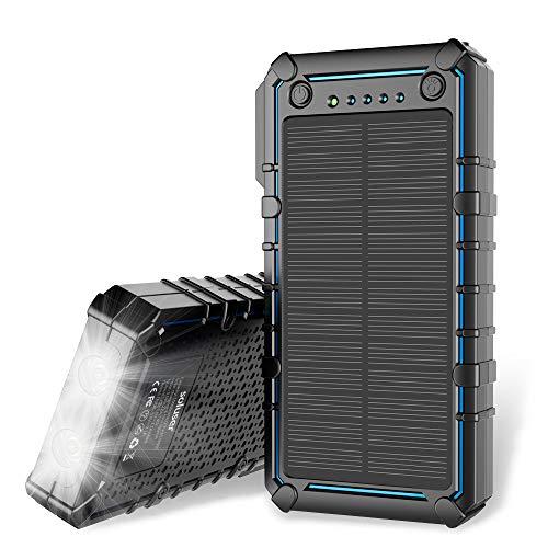 Soluser caricatore solare, 13500 mah premium solar power bank dual usb backup battery pack charger, outdoor solare portatile caricabatteria esterno con 2 torcia led per escursionismo, campeggio, più