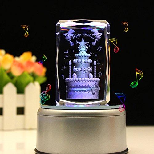 liwuyou Gravieren Kristall 3D Geburtstag Kuchen Colorful LED Licht drehbar Musik Box, Kristall, Large cake, MP3 base Mp3 Crystal