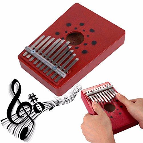 Kalimba Daumenklavier, Everesta 10 Schlüssel Mbira Hohl Kiefer Bildung Spielzeug Musikinstrument für Musikliebhaber und Anfänger (Rot)