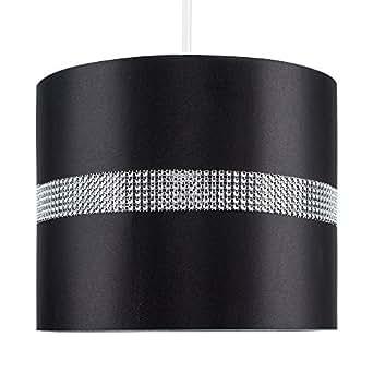 MiniSun Abat-Jour pour Suspension 'ROLLER' Design Contemporain - Tambour Finition en Tissu NOIR Décoré avec Diamante. Cordon électrique Non-Fourni
