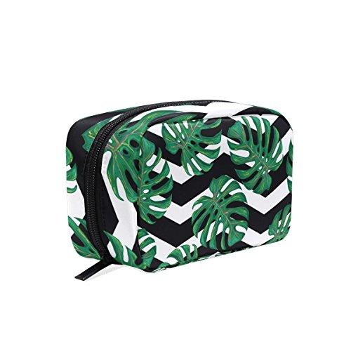 tizorax Tropical Fensterblätter Blätter Praktische Kosmetik Tasche Kupplung Make-up-Tasche Organizer Reisetasche
