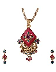 Ganapathy Gems Gold Plated Pandent With Pink And Green Enamel