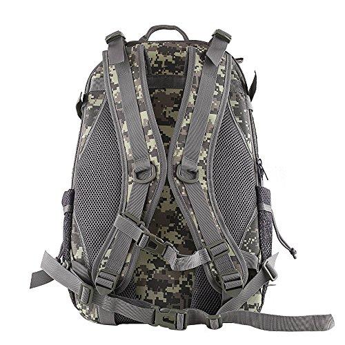 HUKOER Zaino da montagna tattico - zainetto da escursione tattico alla moda, 35L, molti colori, resistente all'acqua sportivo casuale, molle velcro per il trekking, i viaggi e la caccia (Nero) ACU