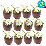 Vasos Plástico en forma de Coco - Juego de 12 - Ideal para fiestas temáticas Hawaianas/de playa - Viene con paja y flores - Ideal para adultos y niños.
