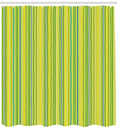 MLNHY Lime Green Shower Curtain, Pastel Toned Vertical Bands Striped Lines Geometric Figures Soft Print, Fabric Bathroom Decor Set with Hooks, Yellow Green,Size:72W X 72L Inche Floral Ruffled Band