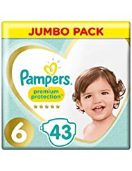 Pampers Premium Protection, Jumbo Pack, Soft Comfort, Approved by British Skin Foundation, Size 6, 43 Nappies, 13 kg+