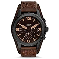 Fossil Nate Men's Brown Dial Leather Band Chronograph Watch - JR1511