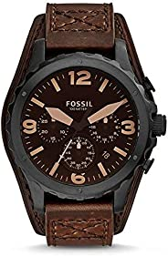 Fossil Nate Men's Brown Dial Leather Band Chronograph Watch - JR