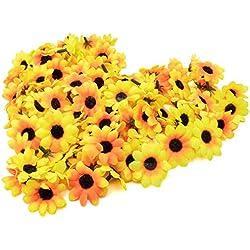 AKORD - 100Margaritas Artificiales para Manualidades, Bodas y Fiestas, plástico, Yellow/Black, 0.38 x 0.38 x 0.2 cm