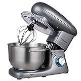 Cookmii Küchenmaschine Rührmaschine Knetmaschine 1500 W 6 Geschwindigkeit 5,5 L mit Edelstahlschüssel Teigmaschine Elegantes Grau
