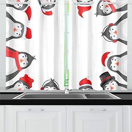 JOCHUAN Frame Polar Penguins Winter Ohrhörer Kappe Küche Vorhänge Fenster Vorhangebenen Für Café, Bad, Wäscherei, Wohnzimmer Schlafzimmer 26X39 Zoll 2Pieces (Ohrhörer Für Teen Jungen)
