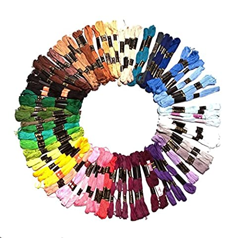 100x8m Embroidery Threads in Assorted Mixed Colours Skeins by Kurtzy TM