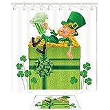 St. Patrick Day Decor lutin prendre la bière Lay dans la boîte-cadeau de pièce d'or à côté de trèfles de douche Clover Set par KOTOM Rideaux de bain 69X70 pouces tapis de sol d'intérieur Tapis de bain 60x40cm