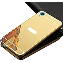 Sunroyal Premium Funda Aluminio para HTC Desire 820 Bumper Case Metal Ultra Thin Espejo Efecto [Fusion Mirror] Trasero Case Cover Protección [Resistente a Arañazos] y [Choque Absorcion] Carcasa Caso - Oro Dorado